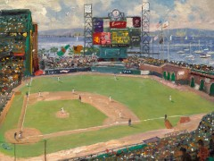World Series Baseball Painting, Thomas Kinkade